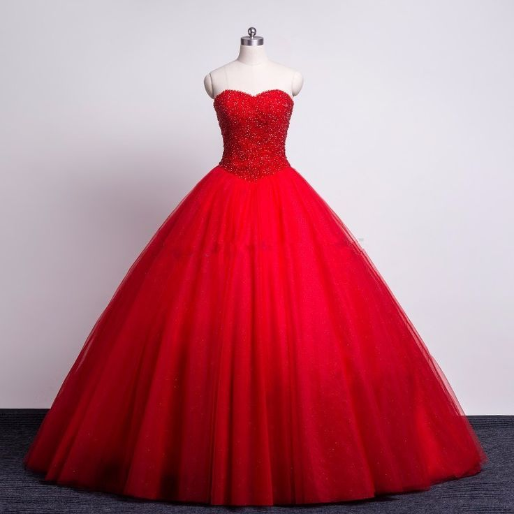 Modest Red Prom Quinceanera Dresses Sweetheart Beaded Corset Tulle Ball Gown Formal Colored Wedding Dresses