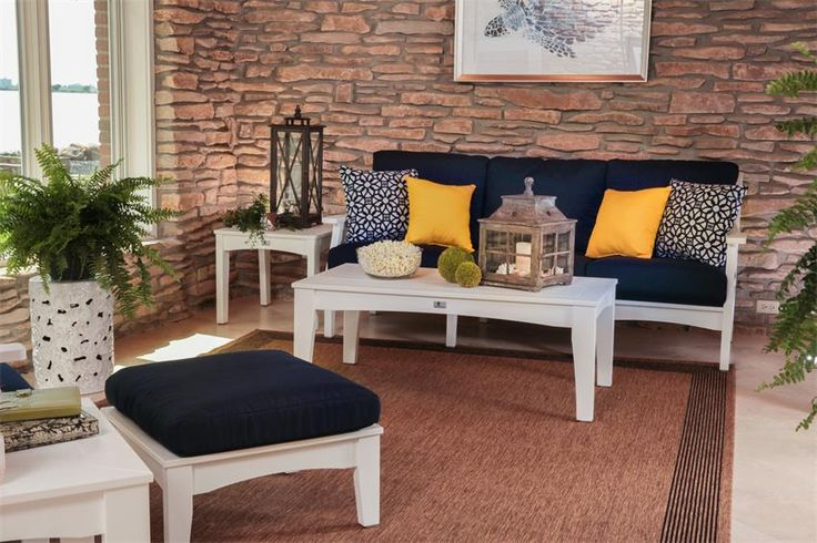 Amish Poly Wood Outdoor Classic Terrace Set - Handcrafted in the United States by highly skilled Amish woodworkers, this Classic Terrace Set is a work of art!  Featuring a sofa, a club chair, an ottoman, two end tables and a coffee table, this set is complete and ready to adorn your perfect outdoor oasis.  Choose the perfect color for the cushions (included) to match you outdoor decor!