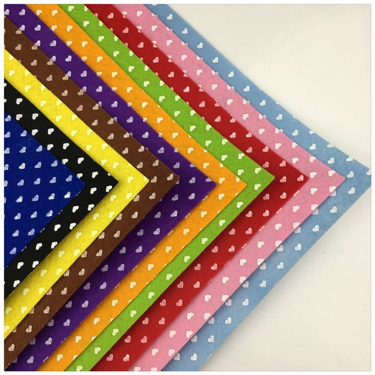 10PCS 15*15cm Heart Polyester Felt Fabric The Cloth DIY Handmade Sewing Home Decor Material Thickness 1mm Mix Color 5.9*5.9inch