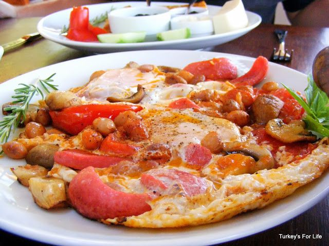 Breakfast on a plate, Olive Garden Restaurant, Kabak, Turkey