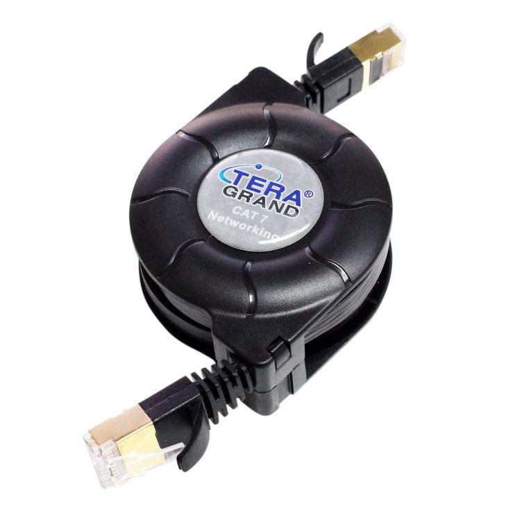 CAT-7 10 4.9 ft. Gigabit Ethernet Retractable Cable for Modem Router LAN Network