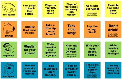 Family Guy drinking games dice