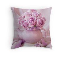 Throw Pillow.  #roses #pinkroses #lavenderpinkroses #pinkrosesstillliferoses #stillliferoses #rosesandteapot #teapotart #teapot #teatime #holidaygifts #floralhomedecor #victoriamagazinestyle #romantichomesstyle #floralhappiness  #floralloveliness #sandrafoster
