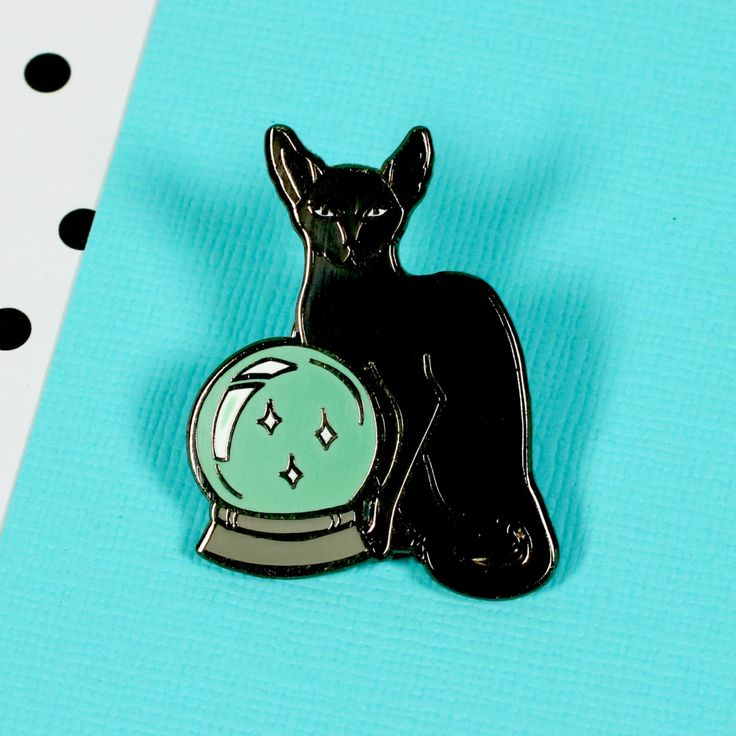 Fortune Teller Cat Enamel Pin with clutch back // EP133 by Punkypins on Etsy https://www.etsy.com/listing/478758359/fortune-teller-cat-enamel-pin-with