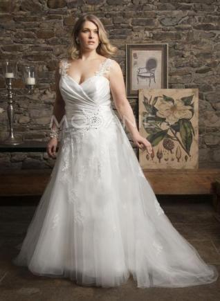 Organza robe de mariée grande taille col en coeur