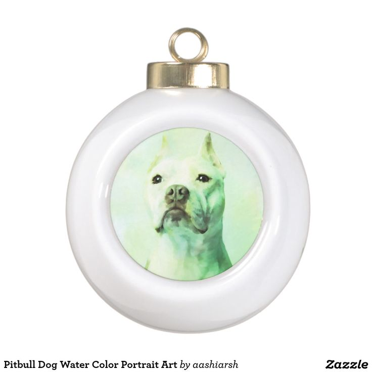 #Pitbull #Dog Water Color Portrait Art Ceramic Ball #Christmas #Ornament #Christmas2016