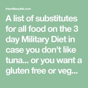 A list of substitutes for all food on the 3 day Military Diet in case you don&#3…