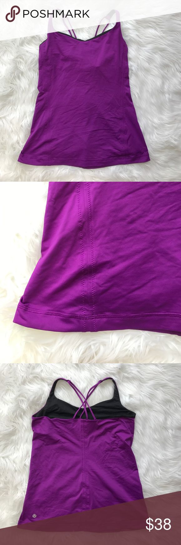 • Lululemon • Purple Strappy Tank Top Yoga 10 - Lululemon - Purple  - Yoga Tank Top - No Pads - Can put your own in - Size 10 - Excellent Condition lululemon athletica Tops Tank Tops