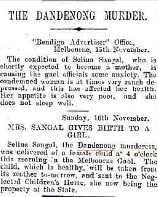 """Sangal known as the """"Dandenong murderess delivered a female child at 4am on the 16th of November 1902 at the Melbourne Gaol. The child, which was healthy, was taken from its mother and sent to the Neglected Children's Home, as she was the property of tho State. The child was said to be the offspring of Tisler, and was Sangal's fifth child. #twistedhistory #melbourne #melbournemurdertours"""