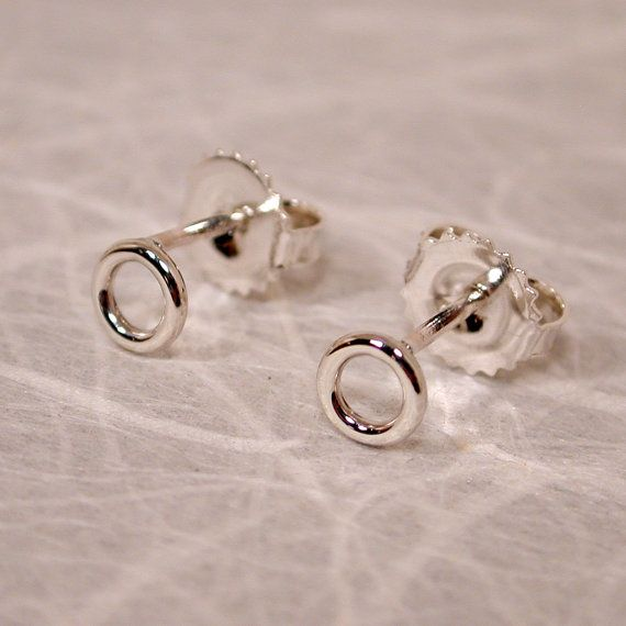 Tiny Silver Hoops 5mm Open Circles Very Small Stud Earrings Classic Jewelry by SARANTOS on Etsy, $18.00