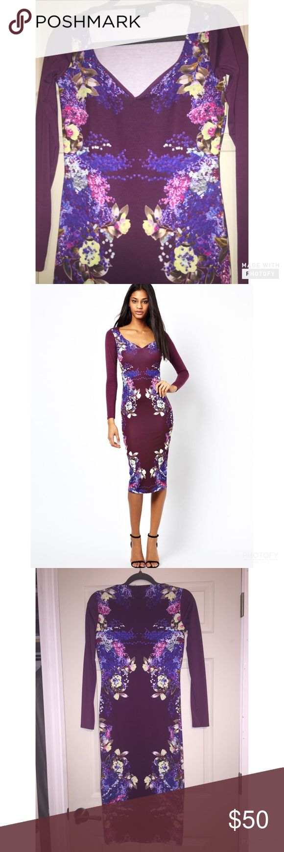 ASOS size 6 Purple Floral midi dress Fitted size 6 but fit me as a size 4. Worn only once great condition and already dry cleaned. ASOS Dresses Midi