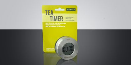 Timer Tea Shop Timer con función reloj de acero inoxidable con pantalla LCD, de diseño exclusivo.