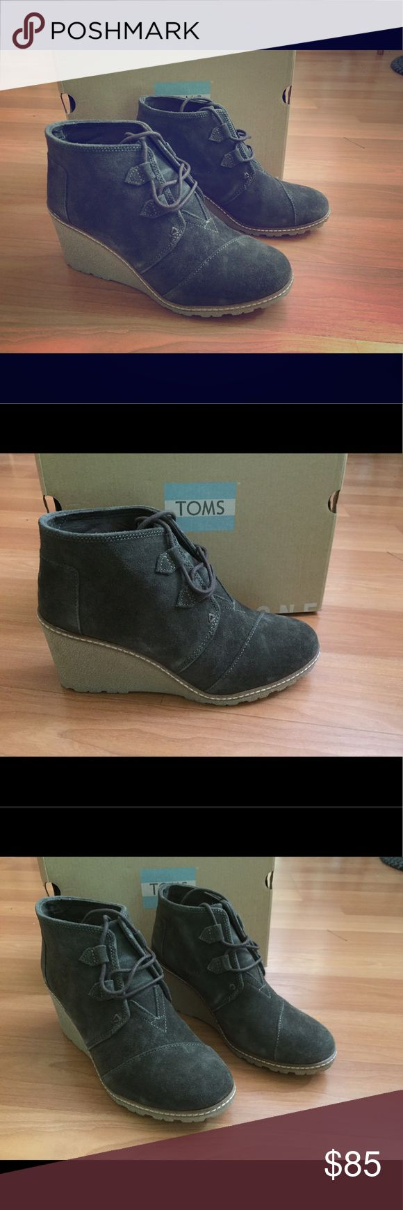 TOMS Desert wedge Boot TOMS Desert Wedge - Tarmac Olive Suede with Faux Crepe Wedge.  Size Women's 8.  Medium width. TOMS Shoes Ankle Boots & Booties