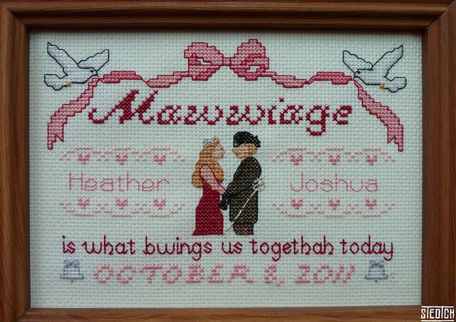 """The Princess Bride"" needlepoint. I wish I got this as a wedding gift."