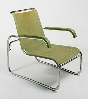 """B35"" armchair, 1928–29  Marcel Breuer (American, born Hungary, 1902–1981); manufactured by Gebrüder Thonet GmbH  Tubular steel, wood, and canvas"