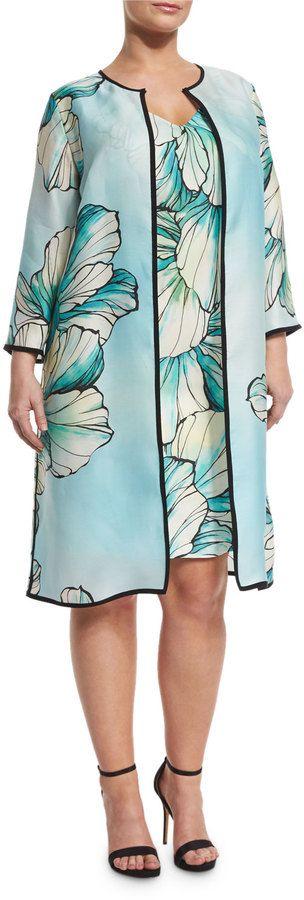 Marina Rinaldi Tropico Flower-Print Coat, Plus Size