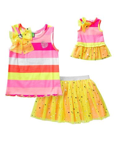 Love this Pink & Yellow Stripe Tank Set & Doll Outfit -Girls on #zulily…