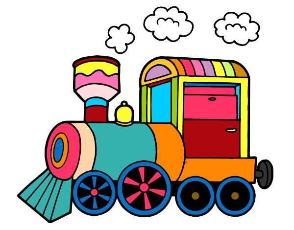 Dibujo de tren pintado por leandro en dibujos el día