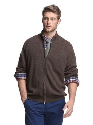 Oxxford Men's Zip-Up Cardigan