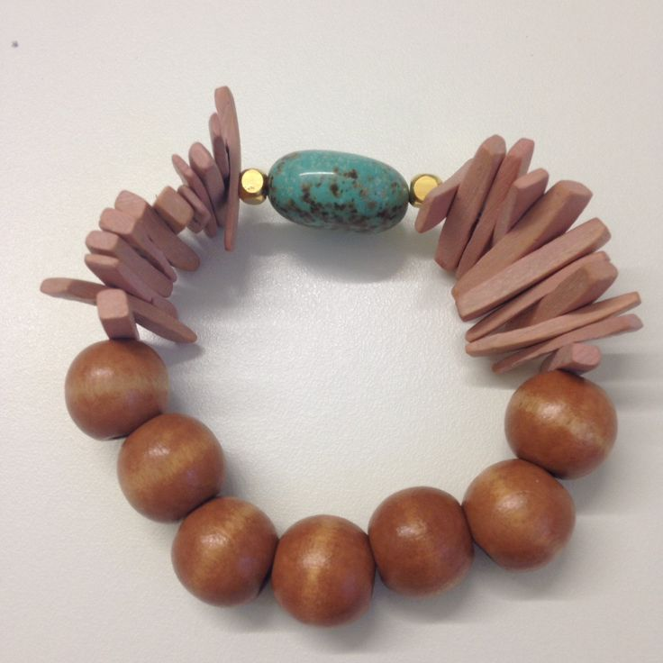Wooden Bracelet Natural Color Big Beads Turquoise Stone  Silicone Elastic Woman Girl Handmade Summer Modern Fashion Gift Gold Semi Precious by ArtArgo on Etsy