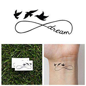 Amazon.com : Dream Birds Infinity Symbol Temporary Tattoo (Set of 2 ...
