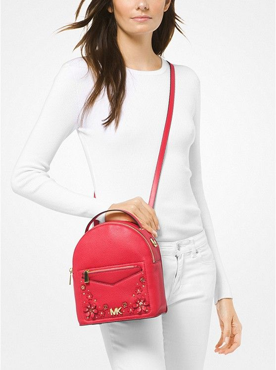 4eea8e0b6964 Jessa Small Floral Embellished Pebbled Leather Convertible Backpack ...