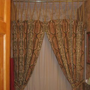 fabric shower curtains with attached valance