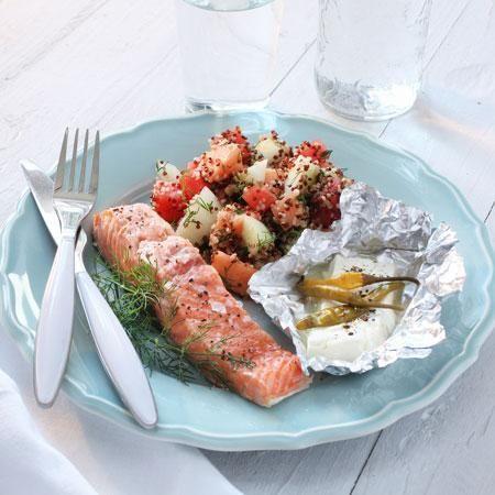 Foodbox weekmenu 40 | Weight Watchers België - Zalm met meloensalade en feta uit de oven 14 SmartPoints® per persoon