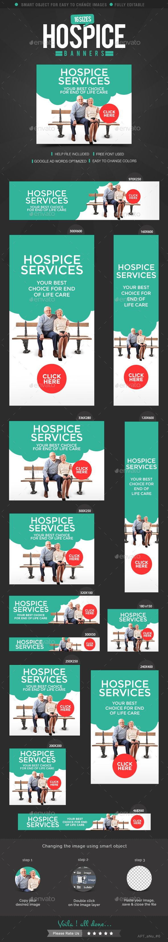 Hospice Care Web Banner Design Set Template PSD