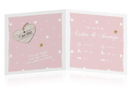 Lief geboortekaartje voor tweeling meisjes in roze met wit kader