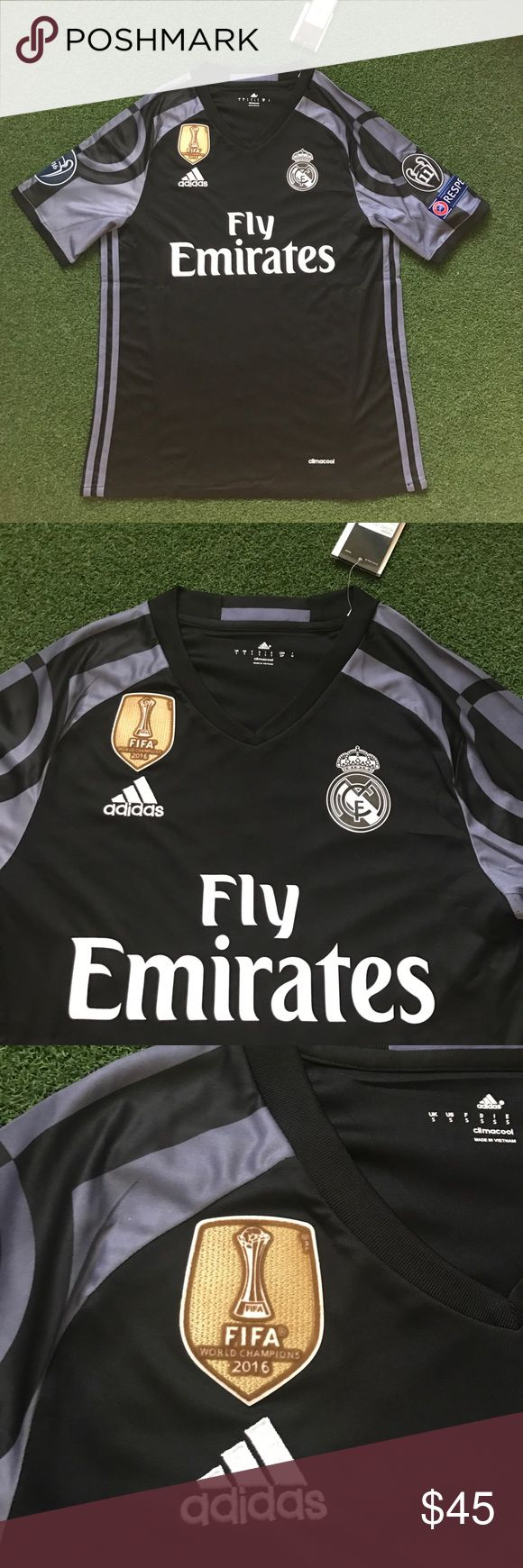 Real Madrid Soccer Jersey Black 2016/17 NO NAME New with tags! Men's adult sizes available! Black 2016/2017 short sleeve REAL MADRID Soccer Jersey with no name and no number! Futbol - la liga - champions league patches - gold FIFA world champions patch Shirts Tees - Short Sleeve