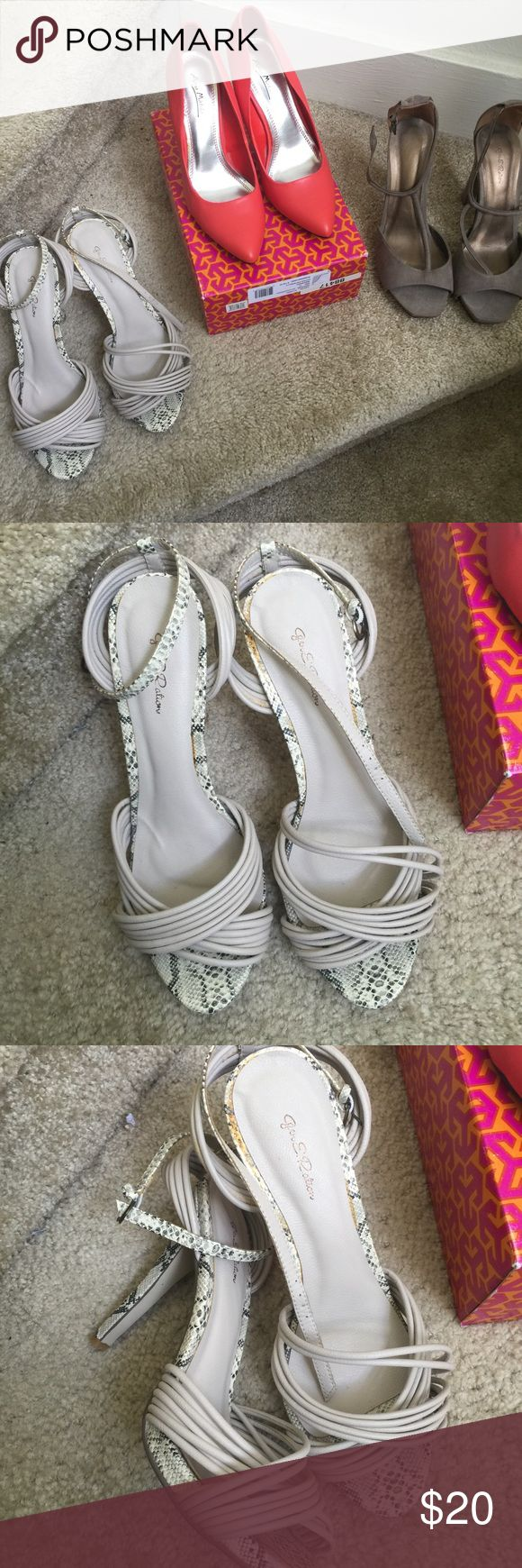 3 pair of women size 10 shoes for the price of one New Orange pumps: never worn, grayish snake skin heels worn once, gray and rose gold trimmed heels worn one time. All shoes are beautiful on. All three shoes are the price of what I paid for one shoe. Shoes Heels