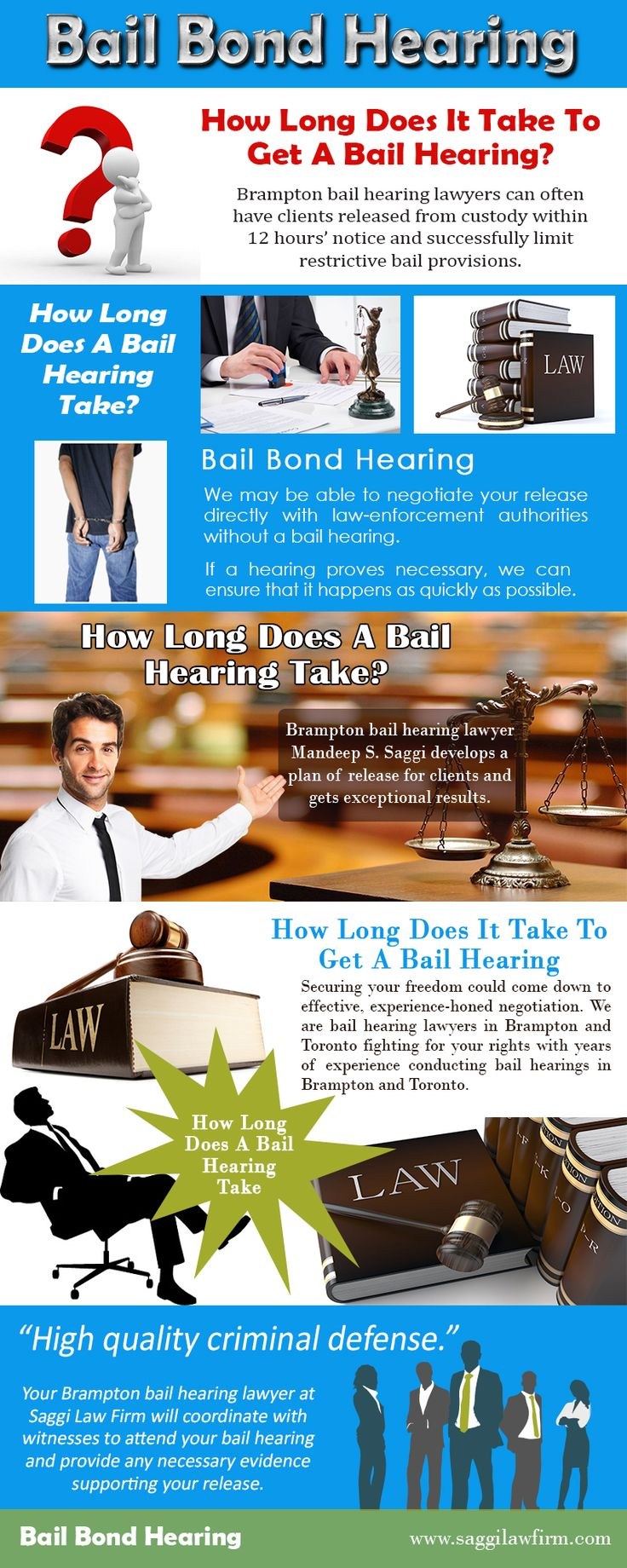 Check this link right here http://saggilawfirm.com/criminal-law/bail-hearings-bail-reviews/ for more information on bail bond hearing. Bail bonds are usually set during a formal procedure called a bail hearing. If the offense is not a minor one, the defendant will be held in custody until he is brought before a judge at a bail bond hearing. Bail bonds are a kind of insurance policy that is taken out to ensure that the defendant shows up for his court date.