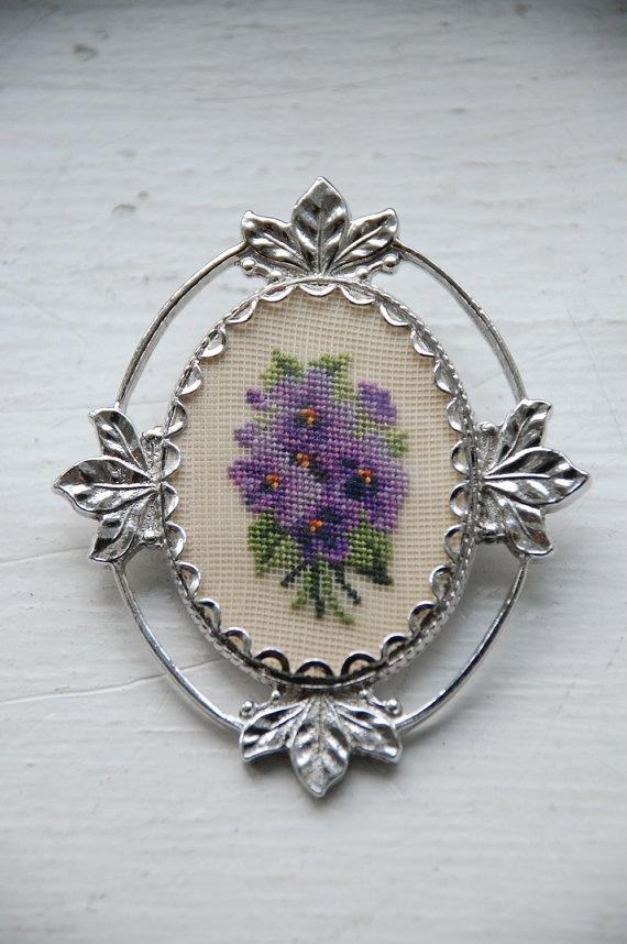 Vintage Violet Posy Needlepoint Brooch on Etsy, $16.00