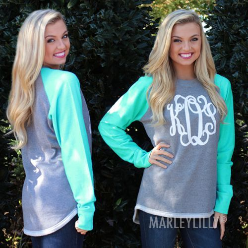 Personalized Raglan Sweatshirt Tunic | Marleylilly. Mint color, size Lg (they may have at MiMis Boutique as well)