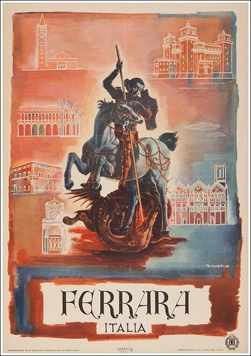 1952 Ferrara, Italy | Vintage Travel Poster