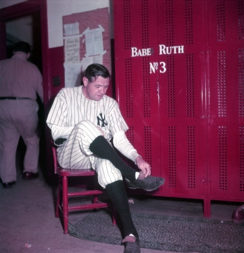 Unpublished. Babe Ruth in the locker room at Yankee Stadium, June 13, 1948, the day his number 3 was retired.