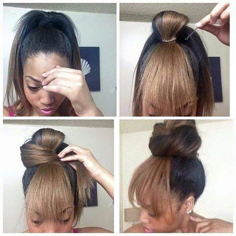 Messy bun with bang  #hairstyle #girls #cite #bun #nicehair