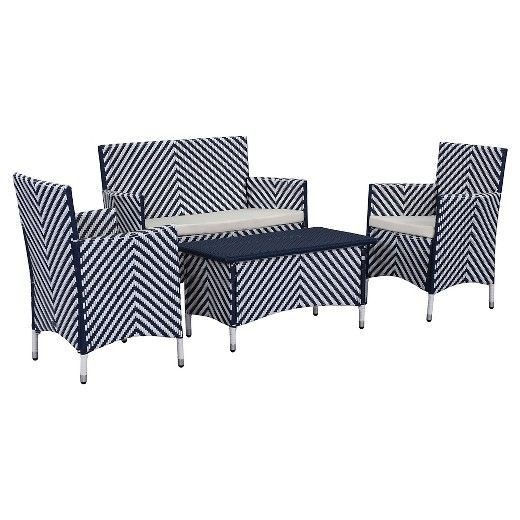 Beauty meets durability in the contemporary Safavieh Figueroa Outdoor Seating Set of 4. The clean lines and high, squared arms give this set a modern flair. The all-weather wicker and weather-resistant steel frame make this set as attractive as it is durable. This set comfortably seats 4, creating a comfortable, elegant gathering space on your patio.