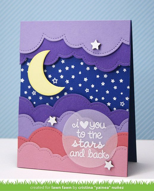 Lawn Fawn - Puffy Cloud Borders, Starry Backdrops, Lucky Stars, Circle Stackables, Wood Veneer Stars _ card by Yainea for Lawn Fawn Design Team