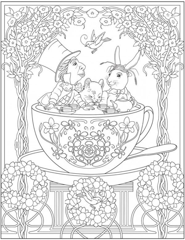 Download Mad Tea Party Coloring Page Dover Coloring Pages