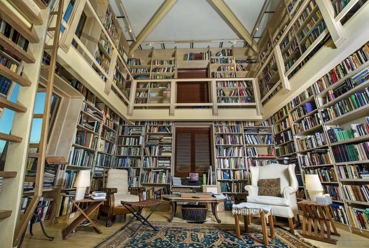 The two-story library contains a growing collection of books, including several on the American history of architectural octagons. -Gillis Octagon House, Olathe, KS