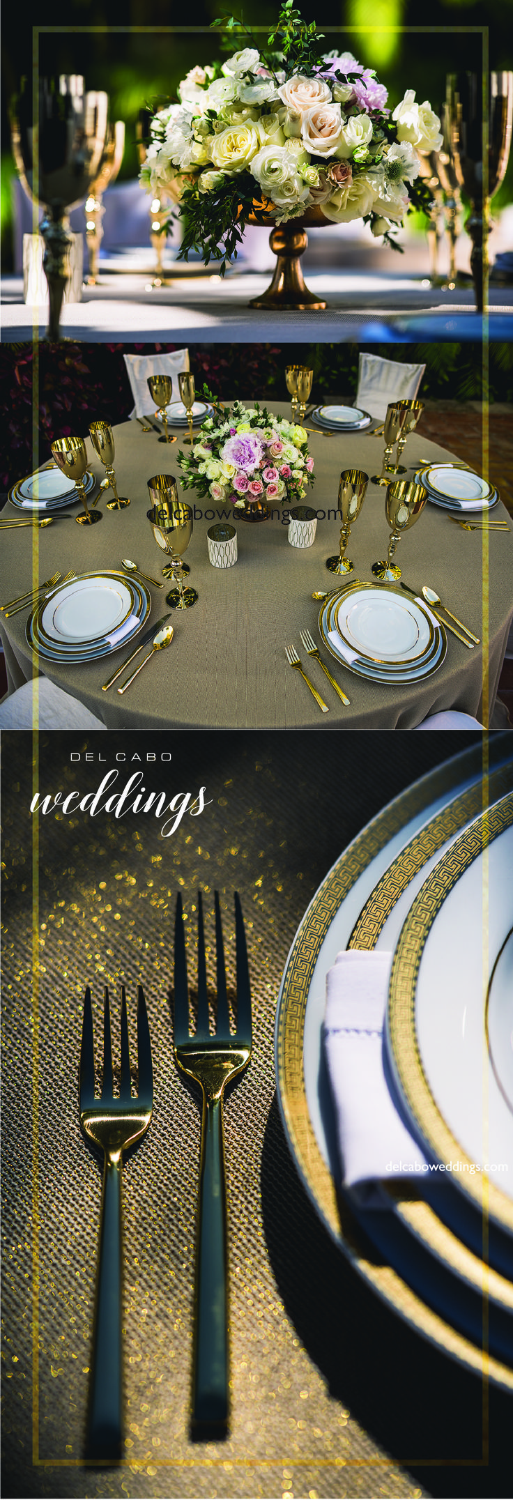 You've never seen a most beautiful metallic wedding theme in your life! Del Cabo Weddings will help you plan and design your dream destination wedding!