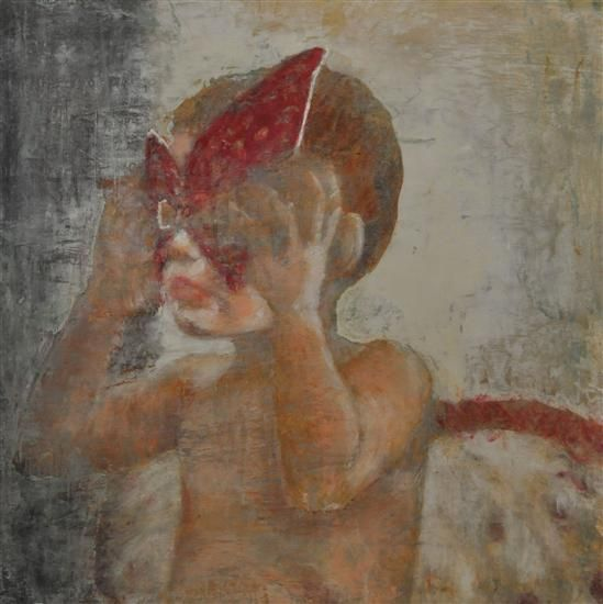 "Orange Art Gallery - Ann-Marie Brown - He's a Moth ; Encaustic & Oil on Canvas, 30"" x 30"". Art. Child. Painting. Moment of Stillness."