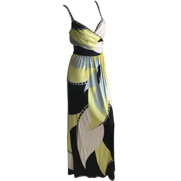 Preowned Emilio Pucci Low Cut Silk Maxi Dress Nwt Size 36 (3.190 BRL) ❤ liked on Polyvore featuring dresses, brown, evening dresses, low cut dresses, preowned dresses, brown maxi dress, emilio pucci dress and low cut maxi dress