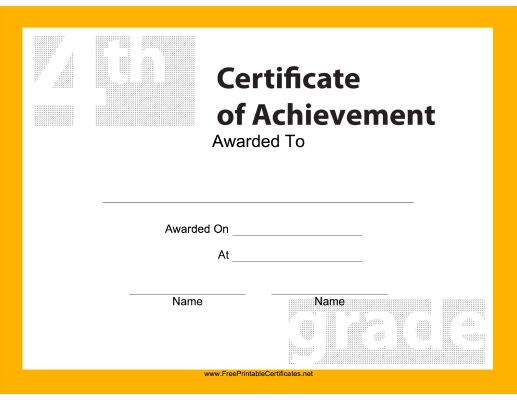 This Free, Printable Certificate Of Achievement Is Great For 4th Grade  Students And Is Decorated  Printable Certificates Of Achievement