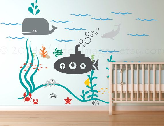 Submarine ocean wall decal sea wall decal nautical by ValdonImages