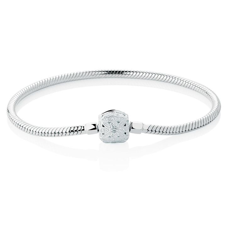 19cm (7.5') Charm Bracelet with Cubic Zirconia Set Clasp in Sterling Silver