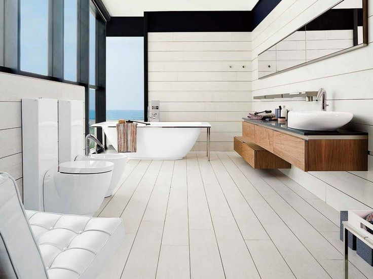 parquet salle de bain pont de bateau en blanc neige. Black Bedroom Furniture Sets. Home Design Ideas
