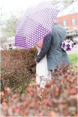 3eight Photography captured a bride & groom embracing the liquid sunshine in perfect wedding style.  If the weather should not cooperate on your special day, have fun coordinating your rain accessories to your wedding colors.  To see more wedding photos by this West Tennessee photographer, click the image.  Photo credit: 3eight Photography
